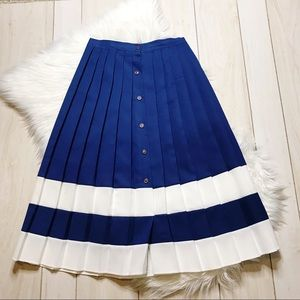 Vintage Pleated Navy & White Nautical Skirt